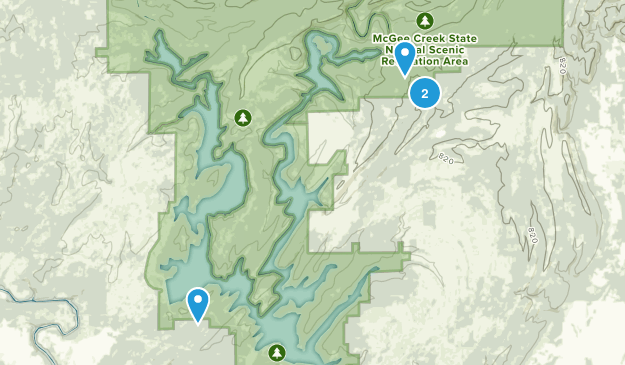 McGee Creek State Natural Scenic Recreational Area Map
