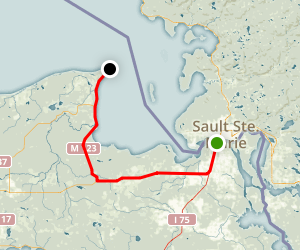 Sault Sainte Marie to Whitefish Point Map
