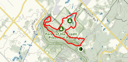 Forks of the Credit and Cataract Falls via Bruce Trail and Trans Canada Trail Loop Map