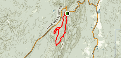 Cave Creek Trail from Cheaha Trailhead Map