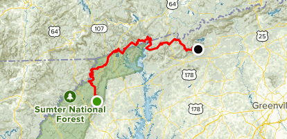 Foothills Trail Through Hike Map