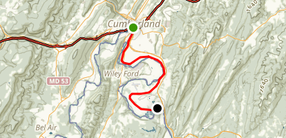C&O Canal-Cumberland to North Branch Map