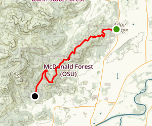 Camp Adair to Oak Creek Map