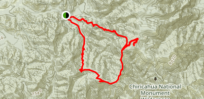 Chiricahua Peak to Monte Vista Peak Loop Map