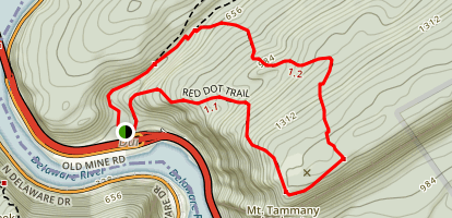 Mount Tammany - Red Dot and Blue Dot Loop Trail Map