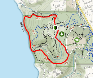 Watertower, South Ridge, Beach and North Trail Loop Map