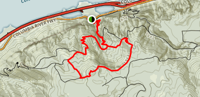 Wahkeena Falls to Devils Rest Map