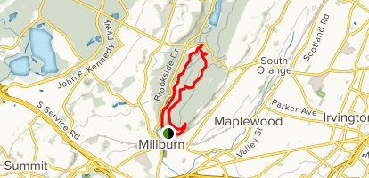 Hemlock Falls Trail via Lenape (Yellow) Trail, Rahway Trail (White) and River Trail Map