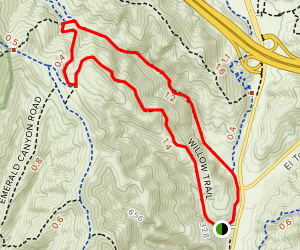 Laurel Canyon, Laurel Spur, Willow Trail Loop Map