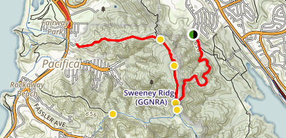 Sweeney Ridge Trail via Sneath Lane Map