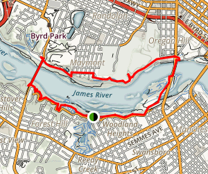 James River North Bank and Buttermilk Loop Trail Map