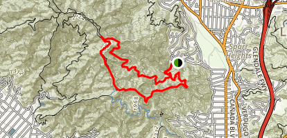 Verdugo Mountains, South End Loop Trail Map