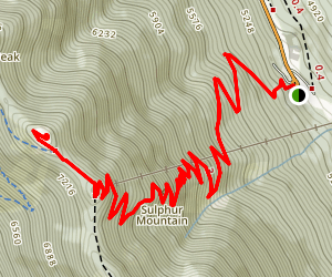 Sulphur Mountain from Hot Springs Map