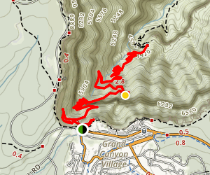 Bright Angel Trail to Three-Mile Resthouse Map