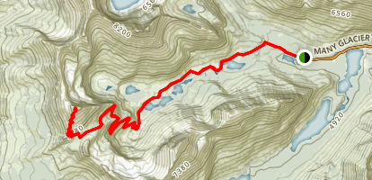 Swiftcurrent Pass Trail To Swiftcurrent Mountain Map