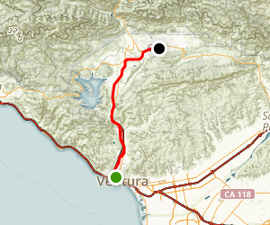 Ojai-Ventura Bike Path Map