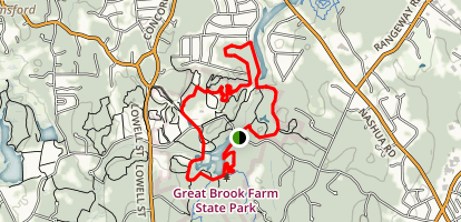 Great Brook Farm Woodchuck, Chicken, and Beaver Loop Trail Map
