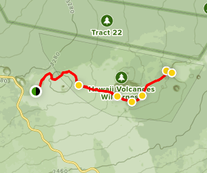Napau Crater Trail to Makaopuhi Crater Map