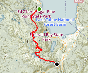 Tahoe-Yosemite Trail Section 1: To Echo Summit Map