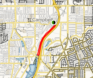 Los Gatos Creek Trail: Downstream from Campbell Park to Meridian Avenue Map