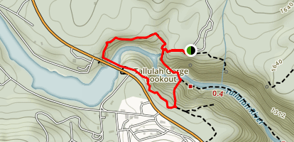 Tallulah Gorge and North and South Rim Loop Trail Map