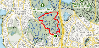 Southern Middlesex Fells Loop Map
