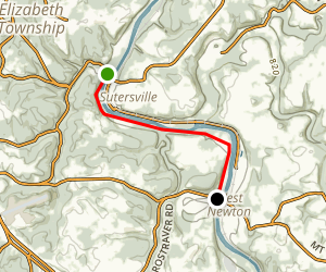 Yough River Trail - Sutersville to West Newton Map