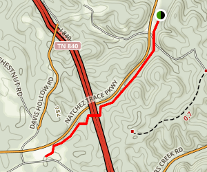 Burns Branch There-and-Back Trail Map