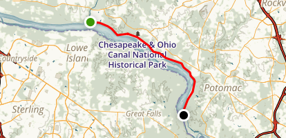 C&O Canal Towpath: Rileys Lock to Swains Lock Trail Map
