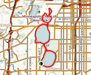 City Lakes Chain, Lakes Harriet, Calhoun, and Isles Trail Map