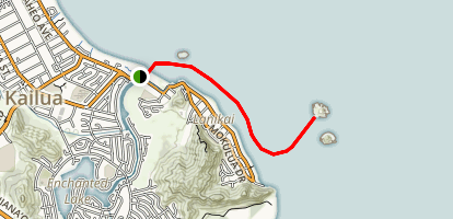 Kayak to Moku Nui from Kailua Beach Park Map