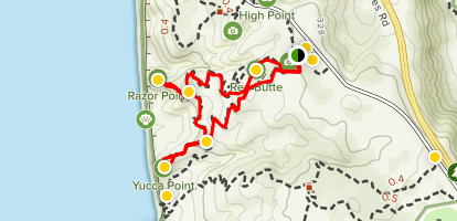 Torrey Pines - Red Butte, Yucca Point, and Razor Point Map