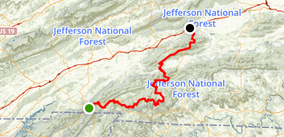 Appalachian Trail: Damascus to Marion Map