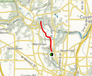 Ohio and Erie Canal Towpath Trail from Memorial Parkway Map