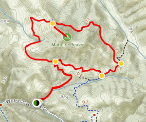 Maguire Peaks Loop Trail via Lower Maguire Peaks Trail Map