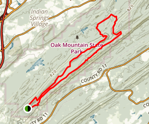 Oak Mountain Blue Trail to White Trail Loop Map