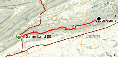 Appalachian Trail Along Blue Mountain Ridge Map