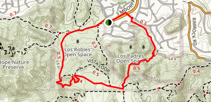 Los Padres Los Robles Loop Trail Map