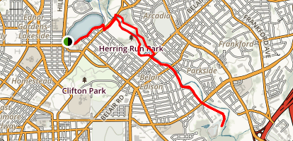 Lake Montebello-Herring Run Park Trail Map