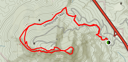 Pilot Mountain Grindstone and Ledge Spring Loop Trail Map