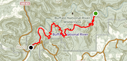 Buffalo River Trail from Kyles Landing Campground Map