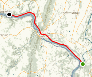 C&O Canal Towpath: Monocacy River Aqueduct to Calico Rocks Map