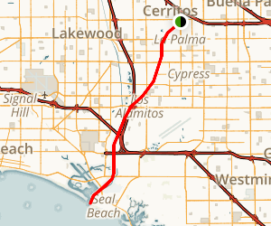 San Gabriel River Bike Trail: Cerritos to Seal Beach Map