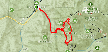 Juniper Canyon Trail to High Peaks Map