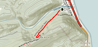 Hawk Rock via Appalachian Trail Map