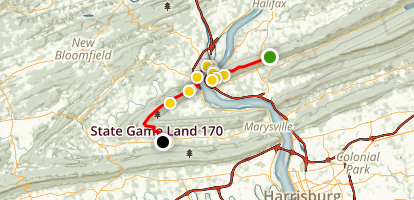 Appalachian Trail: Peters Mountain to Cove Mtn Shelter to PA 850 Map
