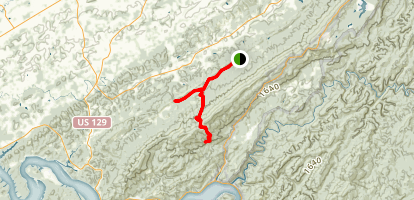 Little Mountain Trail To Hardwood Gap And Cockspur Knob - Us 129 map
