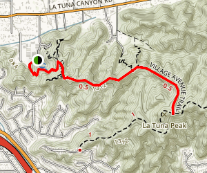 Village Avenue Trail to La Tuna Peak Map