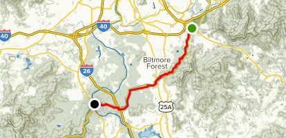Mountains to Sea Trail: US 74A to French Broad River Map