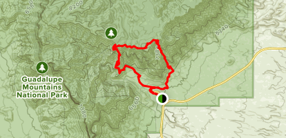 Tejas and Bear Canyon Loop to the Bowl Trail Map